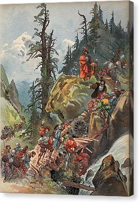The Crossing Of The Alps, Illustration Canvas Print by Albert Robida