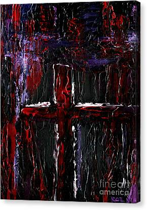 Canvas Print featuring the painting The Crossroads #1 by Roz Abellera Art