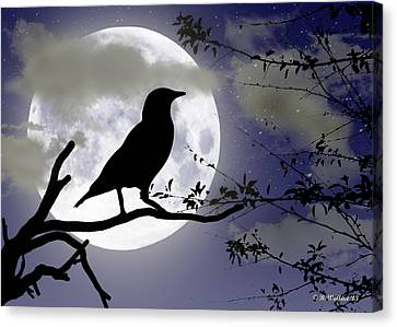 The Crow And Moon Canvas Print by Brian Wallace