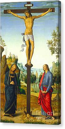 The Crucifixion With The Virgin Saint John Saint Jerome And Saint Mary Magdalene Canvas Print by Pietro Perugino