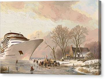 Canvas Print featuring the painting The Cruiseboat by Nop Briex