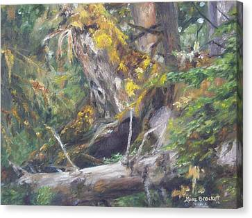 Canvas Print featuring the painting The Crying Log by Lori Brackett