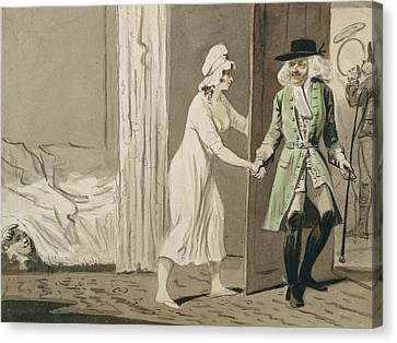 The Cuckold Departs For The Hunt Canvas Print by Isaac Cruikshank