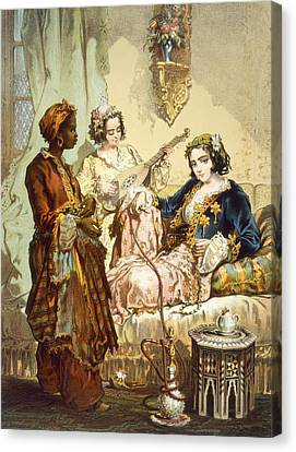 The Cup Of Coffee Two Women Taking Canvas Print by Amadeo Preziosi