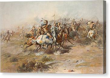 The Custer Fight  Canvas Print by War Is Hell Store