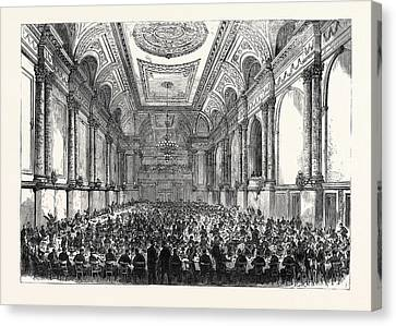The Cutlers Feast At Sheffield Inauguration Of The New Hall Canvas Print by English School