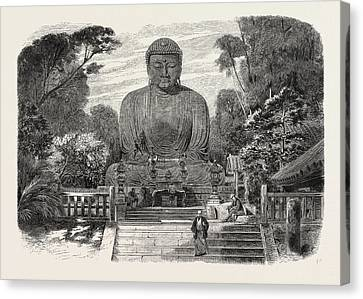 Historic Site Canvas Print - The Daiboutz, A Bronze Colossal Statue On The Site by Japanese School