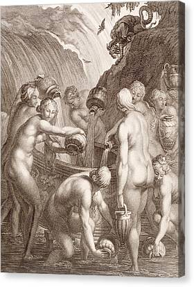 The Danaids Condemned To Fill Bored Vessels With Water Canvas Print by Bernard Picart