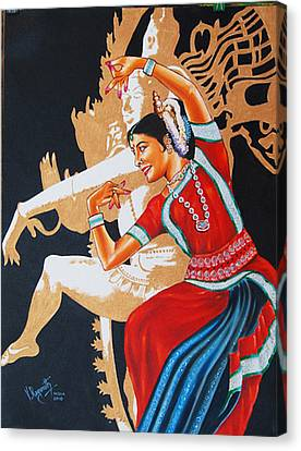 Canvas Print featuring the painting The Dance Divine Of Odissi by Ragunath Venkatraman