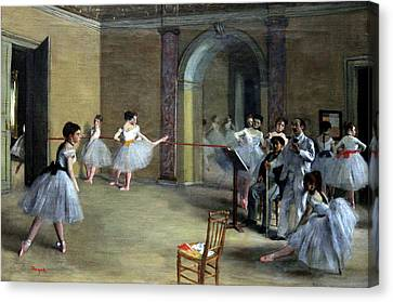 Ballet Dancers Canvas Print - The Dance Foyer At The Opera On The Rue Le Peletier by Georgia Fowler
