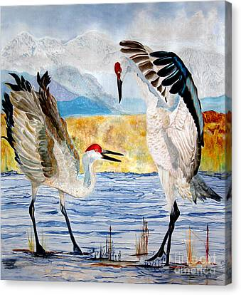 The Dance - Sandhill Cranes Canvas Print by Anderson R Moore