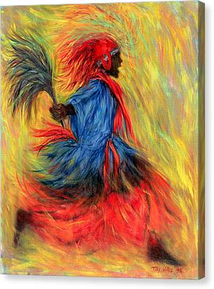 African Traditional Dances Canvas Print - The Dancer, 1998 Oil On Canvas by Tilly Willis