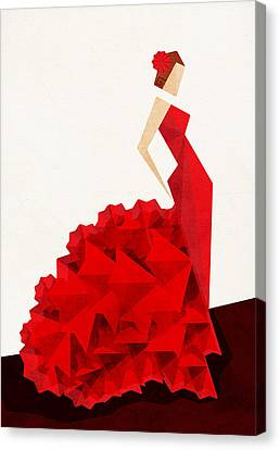 Red Dress Canvas Print - The Dancer Flamenco by VessDSign