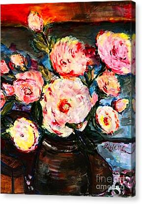 Canvas Print featuring the painting The Dancer's Peonies by Helena Bebirian