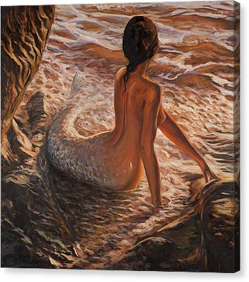 Fish Canvas Print - The Daughter Of The Sea by Marco Busoni