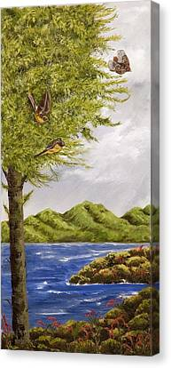 Canvas Print featuring the painting The Day Of The Robins by Susan Culver