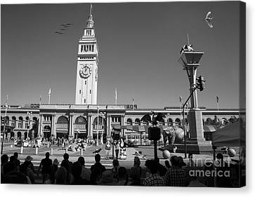 The Day The Circus Came To Town Again Dsc1745 Bw Canvas Print by Wingsdomain Art and Photography