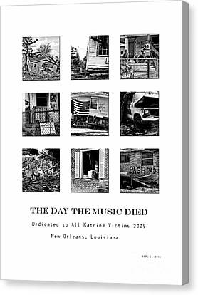 The Day The Music Died Black And White Canvas Print by Kathleen K Parker