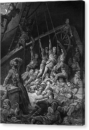 The Dead Sailors Rise Up And Start To Work The Ropes Of The Ship So That It Begins To Move Canvas Print by Gustave Dore