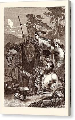The Death Of Marmion. Scott Canvas Print by Armitage, Edward (1817-96), English