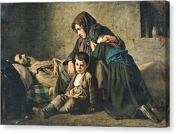 The Death Of The Pauper Oil On Canvas Canvas Print by Alexandre Antigna
