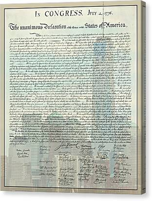 The Declaration Of Independence - Freedom Tower Canvas Print by Stephen Stookey