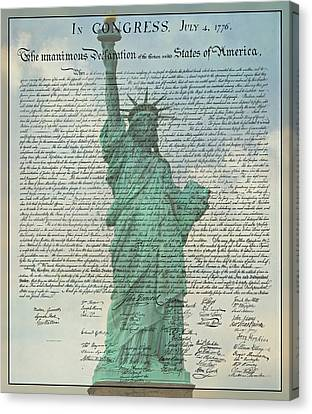 The Declaration Of Independence - Statue Of Liberty Canvas Print by Stephen Stookey