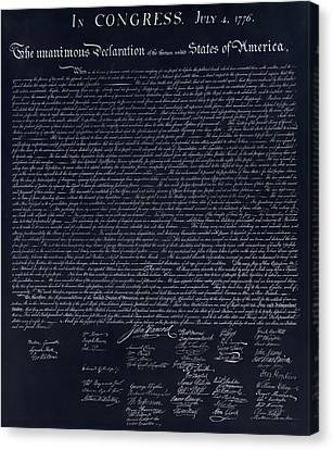 The Declaration Of Independence In Negative  Canvas Print by Rob Hans