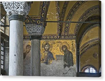 The Deesis Mosaic At Hagia Sophia Canvas Print by Ayhan Altun