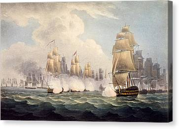 The Defeat Of The French Under Linois Canvas Print by English School