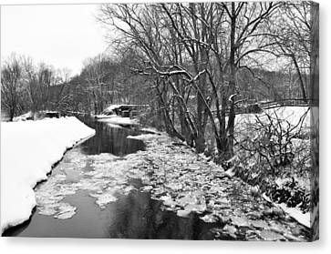 The Delaware Canal In Winter - Stockton New Jersey Canvas Print by Bill Cannon