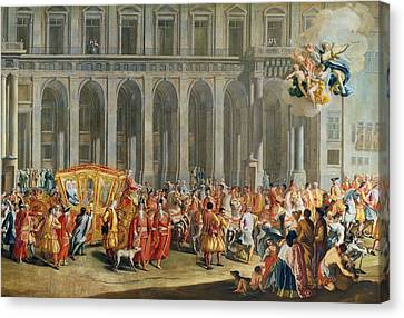 Graf Canvas Print - The Departure Of Alois Thomas Von Harrach, Viceroy Of Naples 1669-1742 From The Palazzo Reale Di by Nicolo Maria Russo or Rossi