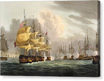 The Destruction Of The Danish Fleet Canvas Print by Thomas Whitcombe