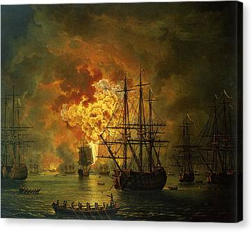 Warship Canvas Print - The Destruction Of The Turkish Fleet At The Bay Of Chesma by Jacob Philippe Hackert