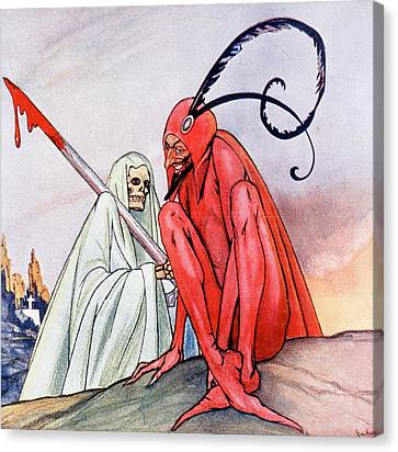 The Devil And Death. Illustration By Echea From La Esfera, 1914 Canvas Print by Echea
