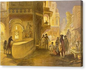 Glowing Canvas Print - The Dewali Or Festival Of Lamps by William 'Crimea' Simpson