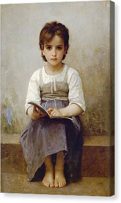The Difficult Lesson Canvas Print by William Bouguereau