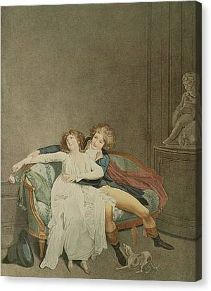 The Dispute Of The Rose, Engraving Canvas Print by Louis Leopold Boilly
