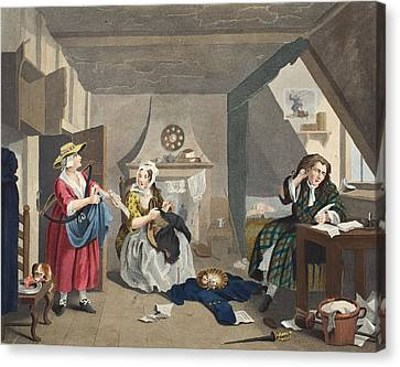 The Distressed Poet, Illustration Canvas Print by William Hogarth