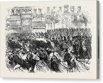 The Disturbances In Paris Cavalry Clearing The Boulevards Canvas Print