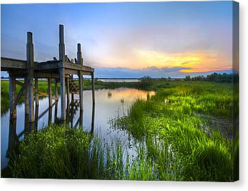 The Dock Canvas Print by Debra and Dave Vanderlaan