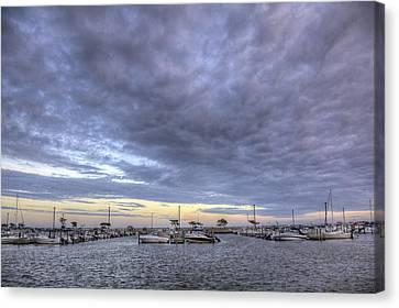 The Docks At Bay Shore Canvas Print by Steve Gravano