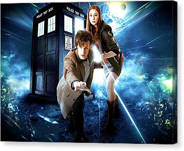 The Doctor And Amy Pond Canvas Print by Kenneth A Mc Williams