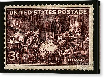 The Doctor - Concerned Physician Postage Stamp Canvas Print by Phil Cardamone
