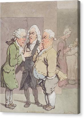 The Doctors Consultation, 1815-1820 Pen And Ink And Wc Over Graphite On Paper Canvas Print by Thomas Rowlandson