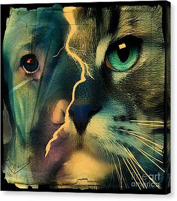 Canvas Print featuring the digital art The Dog Connection -green by Kathy Tarochione
