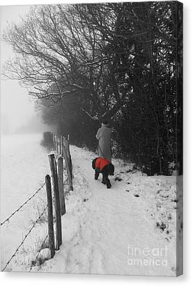 Canvas Print featuring the photograph The Dog In The Red Coat by Vicki Spindler