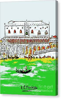 Canvas Print featuring the painting The Doge's Palace by Loredana Messina