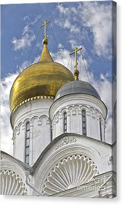 The Domes Of Archangel Cathedral Canvas Print by Elena Nosyreva