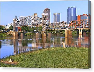 The Downtown Cat Of Little Rock - Arkansas - River - Skyline Canvas Print by Jason Politte